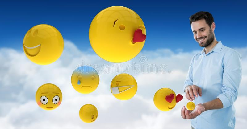 Digital composite image of man with various emojis on clouds. Digital composite of Digital composite image of man with various emojis on clouds vector illustration