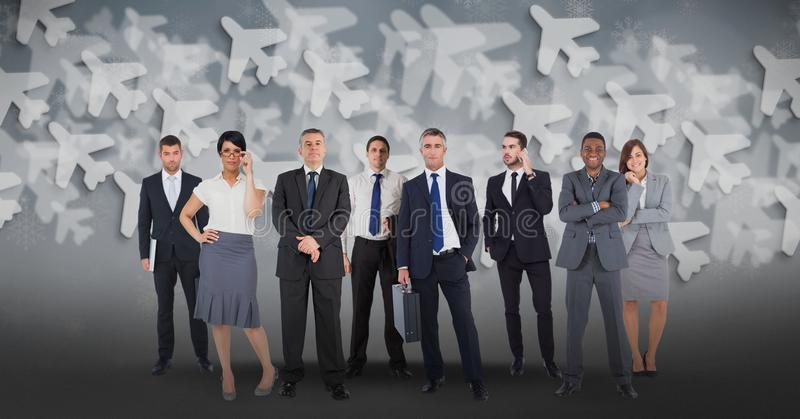 Digital composite image of multi ethnic business people with airplane background. Digital composite of Digital composite image of multi ethnic business people vector illustration