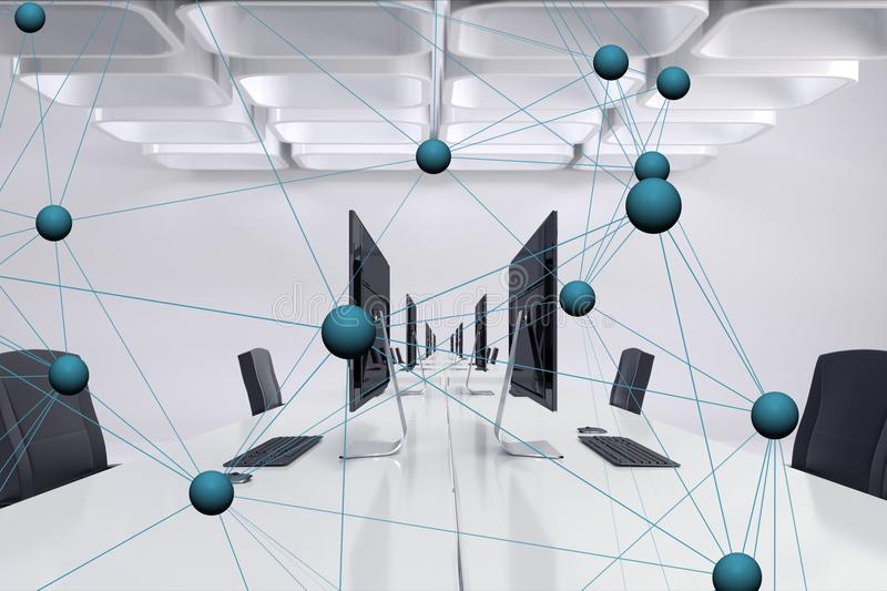 Digital composite image of tech graphic in office. Digital composite of Digital composite image of tech graphic in office stock illustration