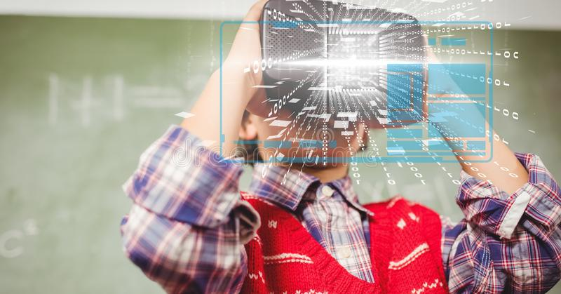 Digital composite image of tech graphs with man using VR glasses in background. Digital composite of Digital composite image of tech graphs with man using VR vector illustration