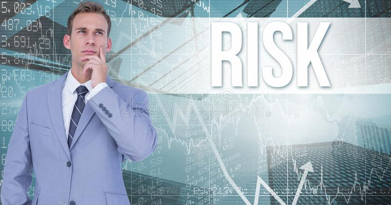 Digital composite image of thoughtful businessman standing against risk text and graphs. Digital composite of Digital composite image of thoughtful businessman royalty free illustration