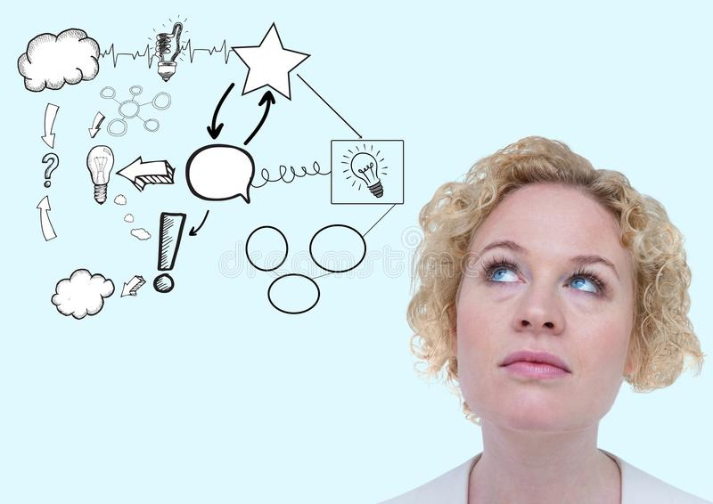 Digital composite image of a thoughtful woman with idea doodle. Against blue background royalty free stock image