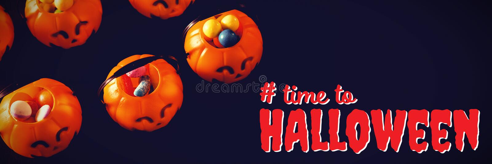 Composite image of digital composite image of time to halloween text. Digital composite image of time to Halloween text against jack o lantern containers with stock photography