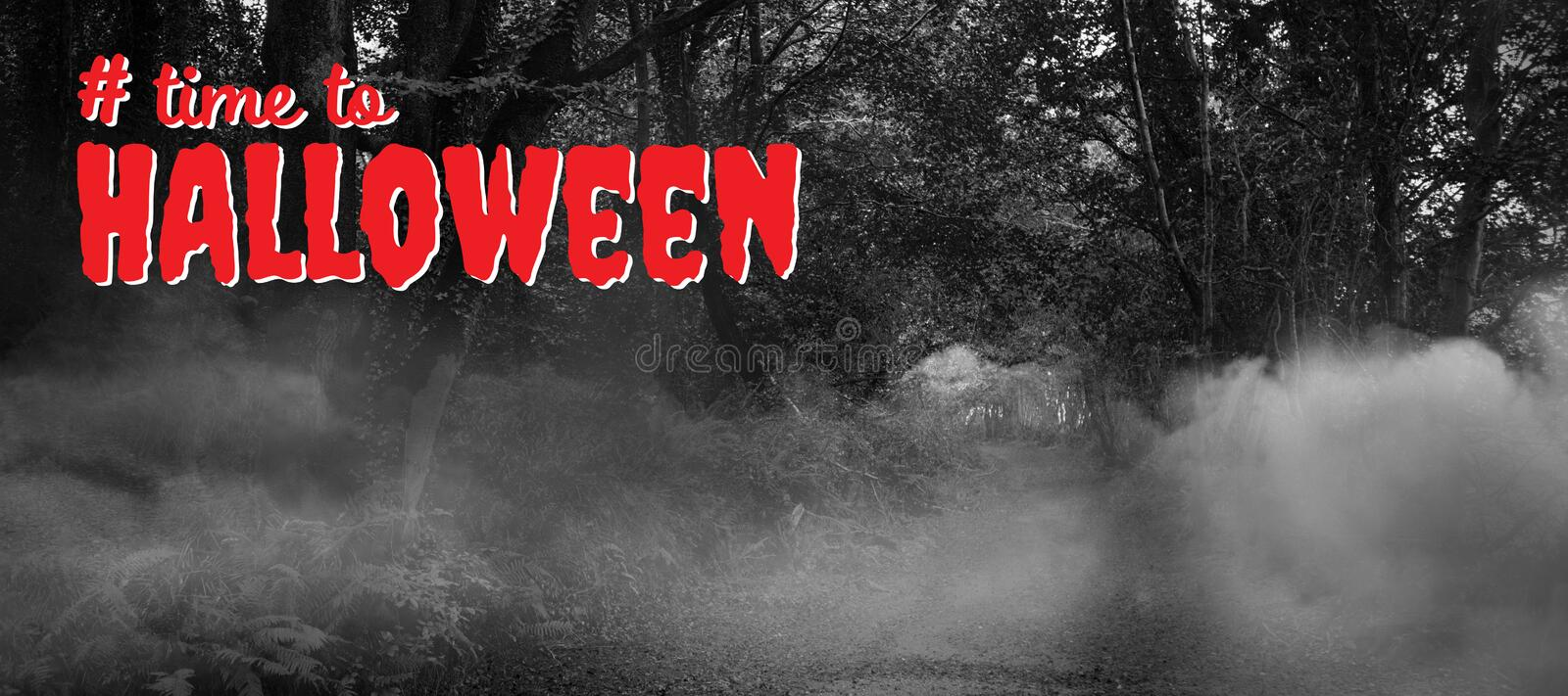 Composite image of digital composite image of time to halloween text. Digital composite image of time to Halloween text against way between trees stock photos