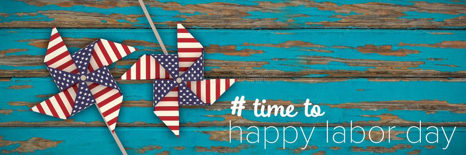 Composite image of digital composite image of time to happy labor day text vector illustration