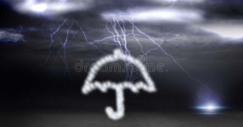 Digital composite image of umbrella made of cloud texture during thunder storm. Digital composite of Digital composite image of umbrella made of cloud texture stock photo