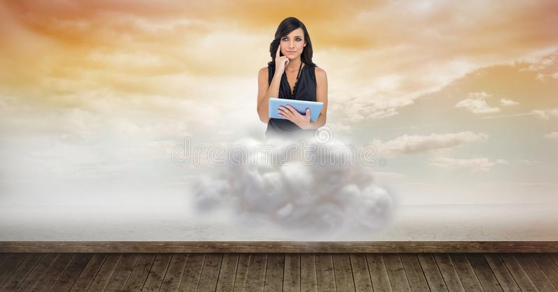 Digital composite image of woman holding tablet computer on cloud over floorboard in sky. Digital composite of Digital composite image of woman holding tablet stock illustration