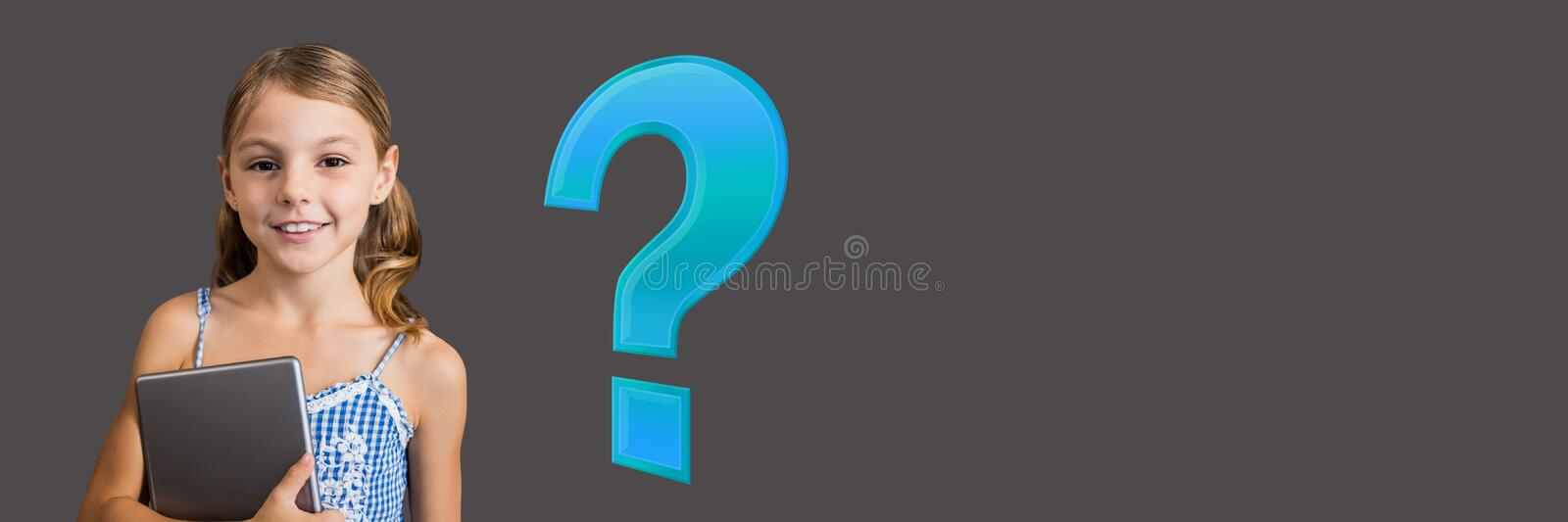 Kid Girl with Blue question mark stock illustration