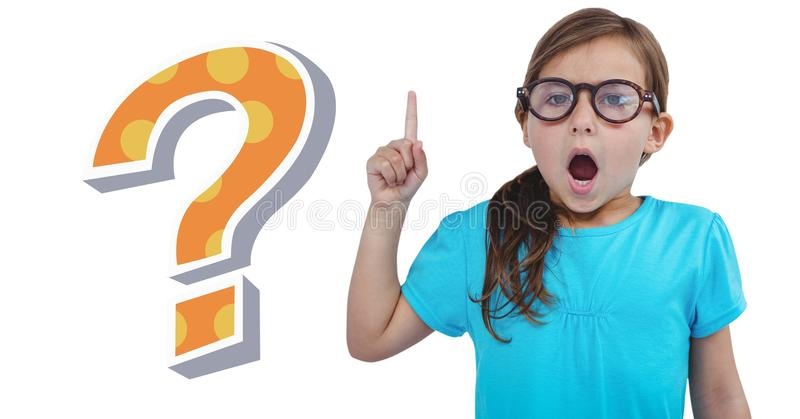 Kid Girl with funky cool question mark. Digital composite of Kid Girl with funky cool question mark royalty free stock image