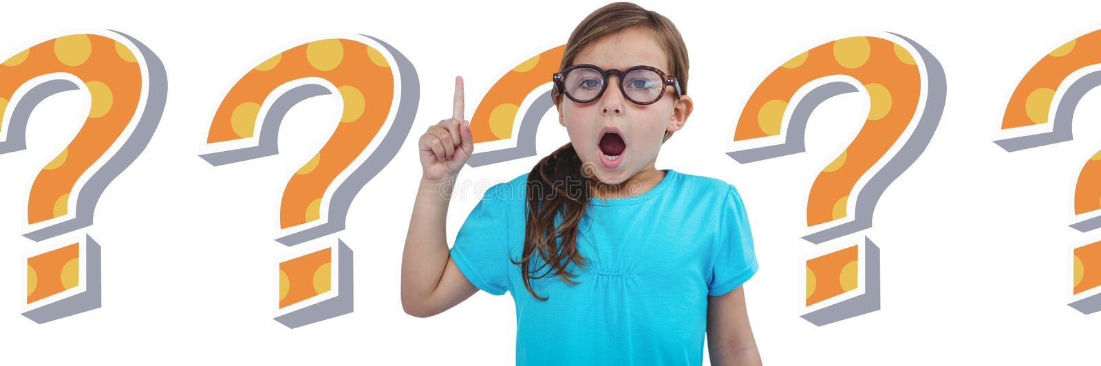 Kid Girl with funky cool question mark vector illustration