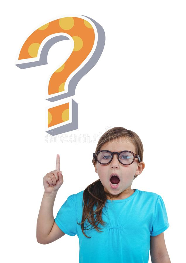 Kid Girl with funky cool question mark. Digital composite of Kid Girl with funky cool question mark royalty free stock photography