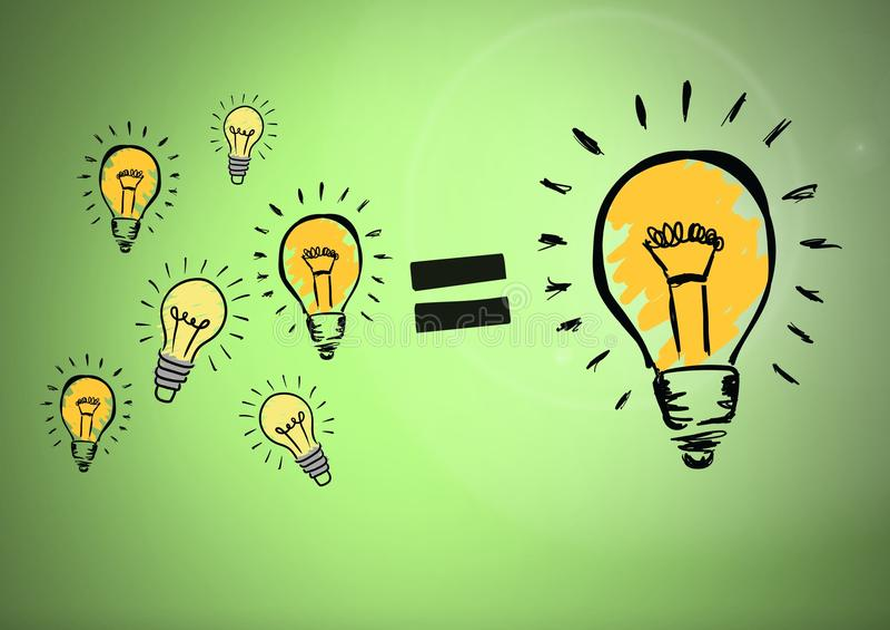 Lots of light bulbs equal one big lightbulb. Digital composite of Lots of light bulbs equal one big lightbulb royalty free illustration