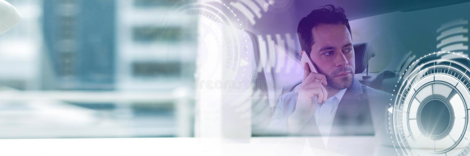 Man in driverless autonomous car with heads up display interface and building transition royalty free stock photos
