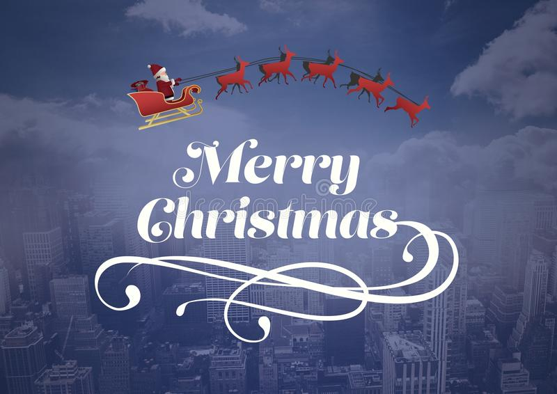 Merry Christmas text with Santa and reindeer`s over city royalty free illustration