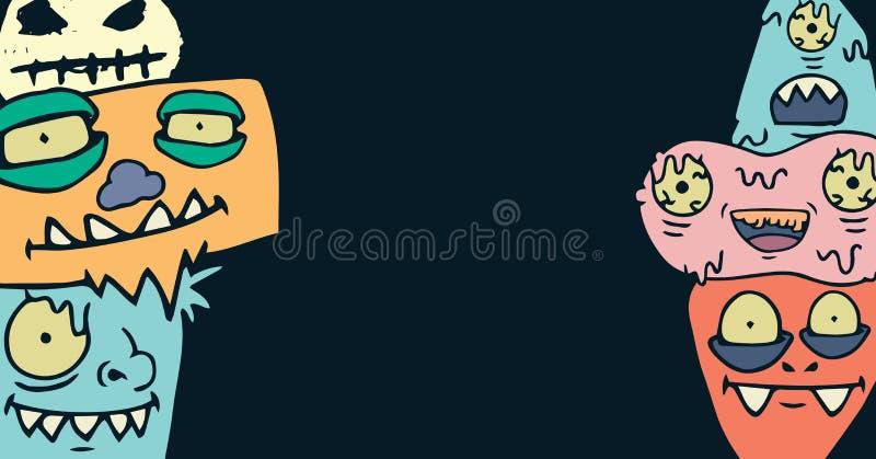 Monster illustrations. Digital composite of Monster illustrations stock illustration