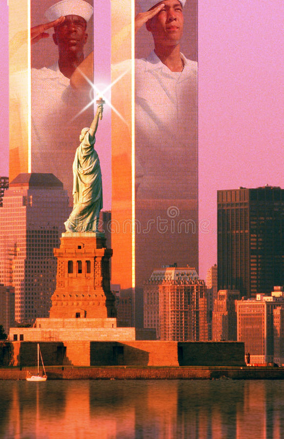 Digital composite: New York skyline, American sailors, World Trade Center, Statue of Liberty stock image