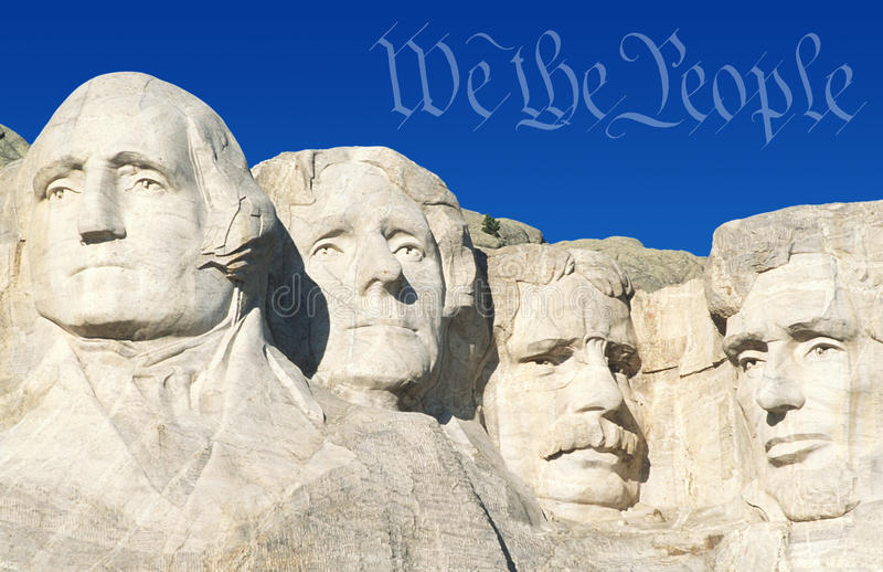 Digital composite: Preamble to the U.S. Constitution and Mount Rushmore royalty free stock photography