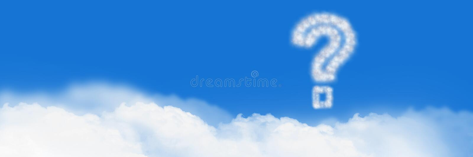 Question mark Cloud Icon with sky royalty free stock photos