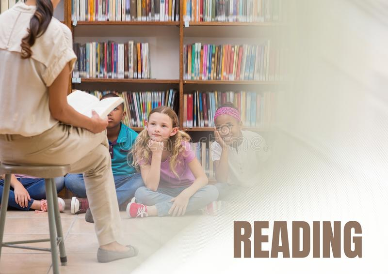 Reading text and Elementary school teacher with class royalty free stock images