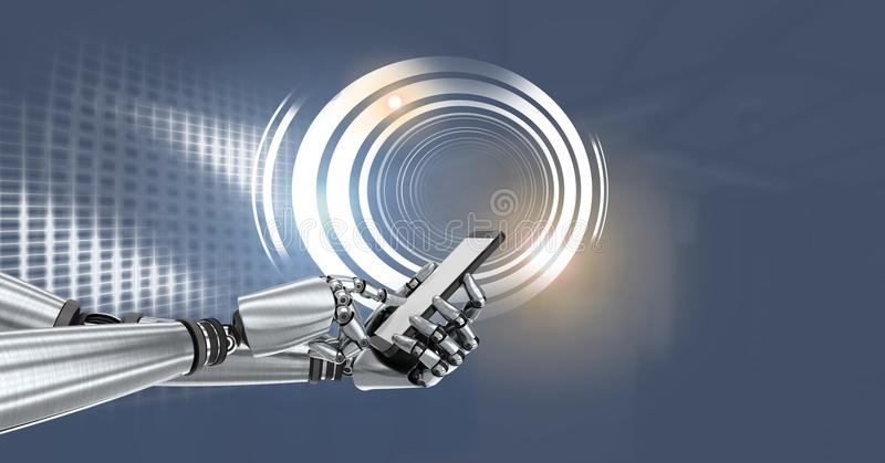 Robot android hand with phone and Glowing circle technology interface royalty free illustration