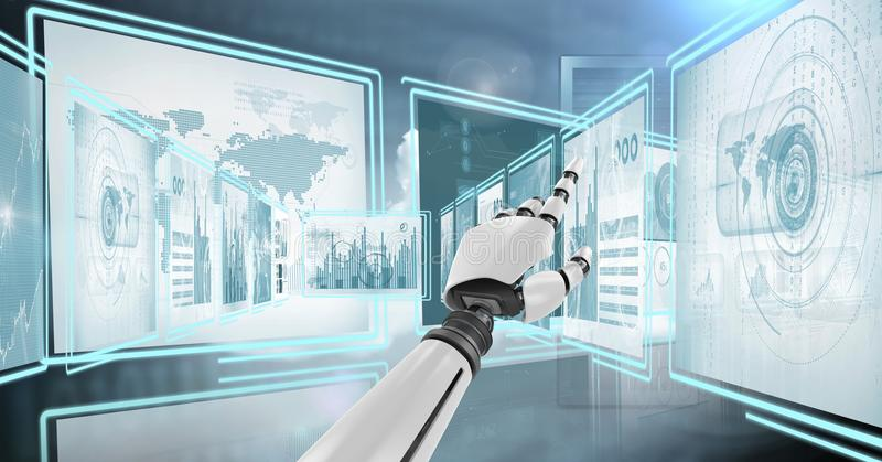Robot hand interacting with technology interface panels stock illustration
