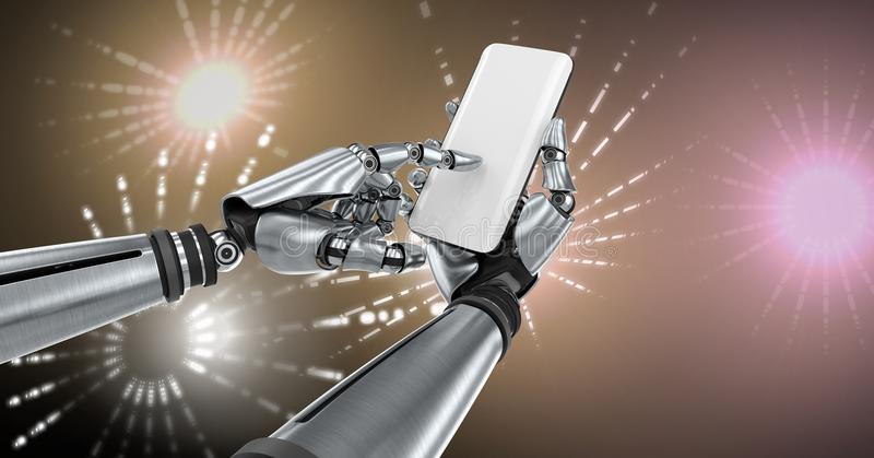 Robotic android hand using phone device and Glowing Firework circle shapes. Digital composite of Robotic android hand using phone device and Glowing Firework vector illustration