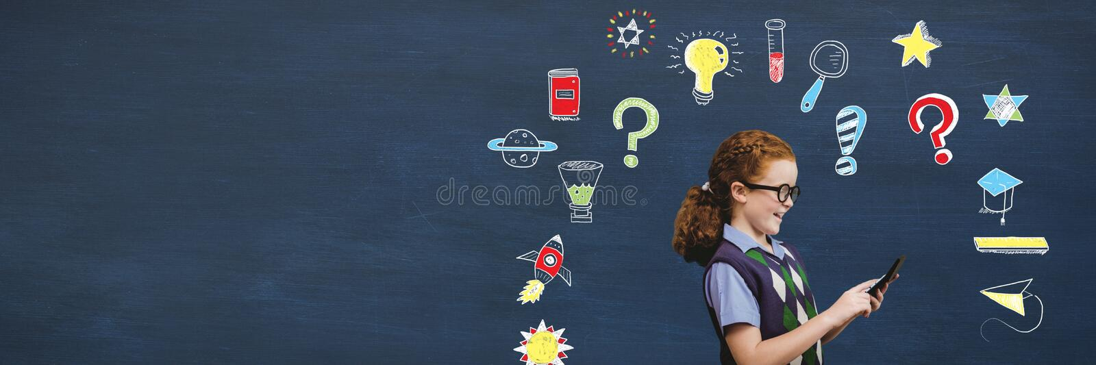 School boy and School girl holding phone and Education drawing on blackboard for school royalty free stock photo