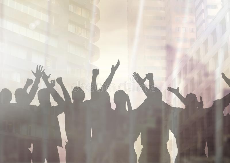 Silhouette of group of people celebrating at party with transition background royalty free illustration