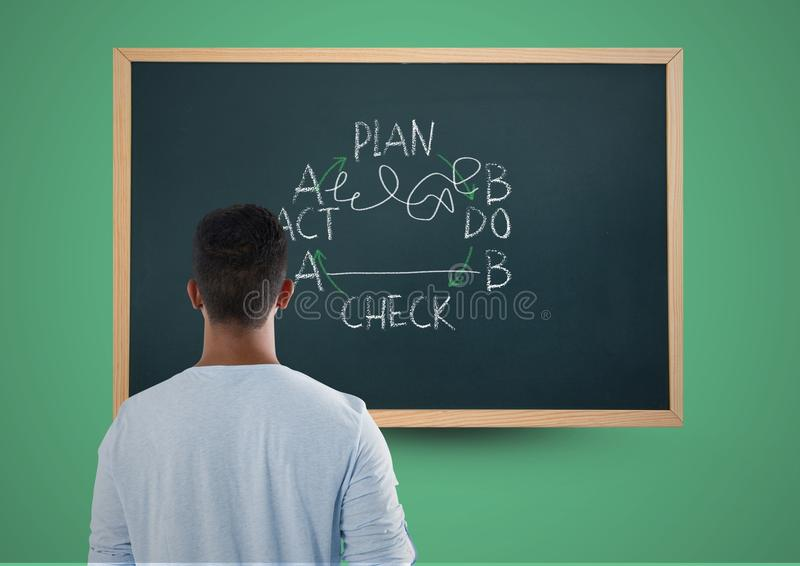 Teenager standing looking at writing on blackboard royalty free stock images