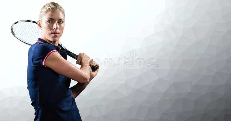 Tennis player woman with grey background with racket. Digital composite of Tennis player woman with grey background with racket royalty free stock photo