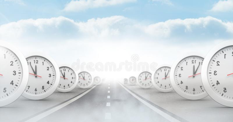 Time clocks on surreal road perspective. Digital composite of time clocks on surreal road perspective royalty free illustration