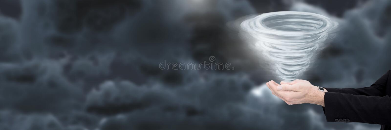 Tornado twister painted and dark sky with hands open stock image