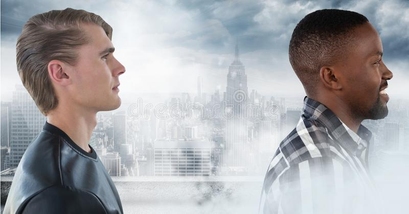Two men in city surrounded by smoke. Digital composite of Two men in city surrounded by smoke royalty free stock photo