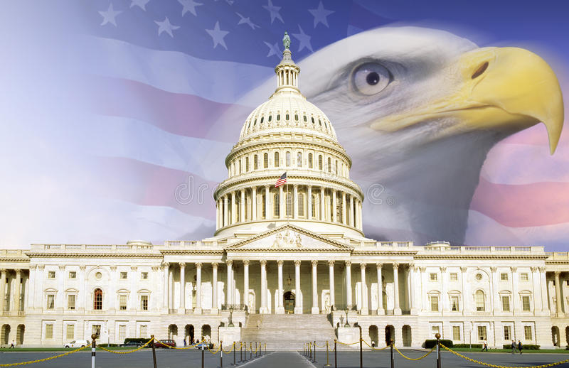 Digital composite: U.S. Capitol with American eagle and flag stock images