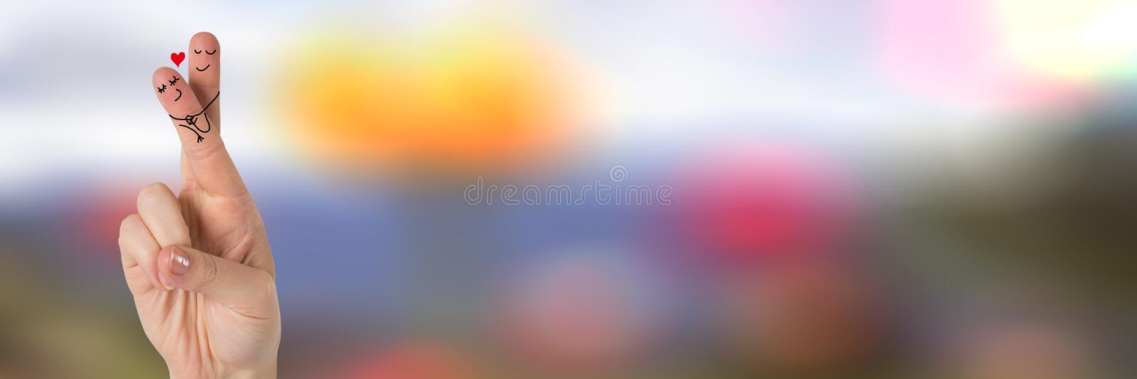 Valentine's fingers love couple and colorful blurred background vector illustration