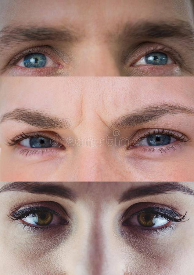 Various eyes in series of three royalty free illustration