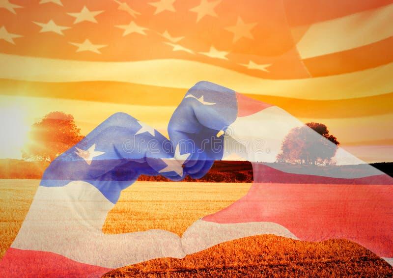 Veterans day, flag usa on hands. Digital composite of Veterans day, flag usa on hands stock image