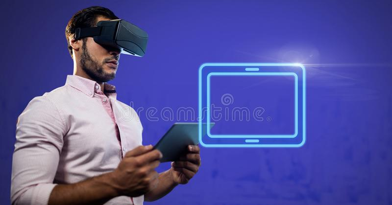 Virtual Reality Headset on man holding tablet with electric tablet rectangular icon. Digital composite of Virtual Reality Headset on man holding tablet with royalty free illustration