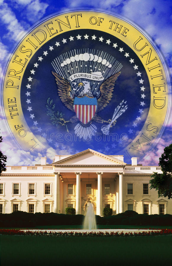 Digital composite: The White House and Seal of the President stock image