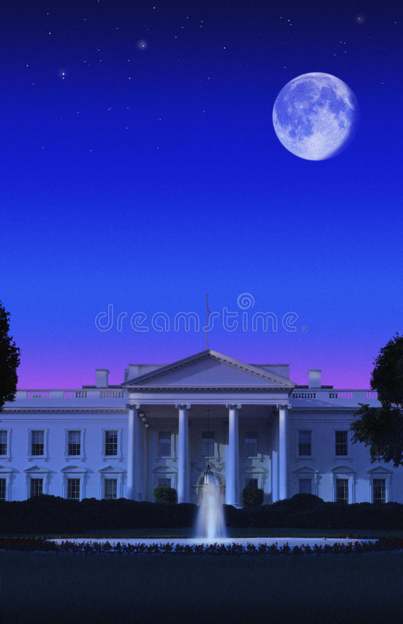 Digital composite: The White House, Washington D.C. and full moon royalty free stock photos