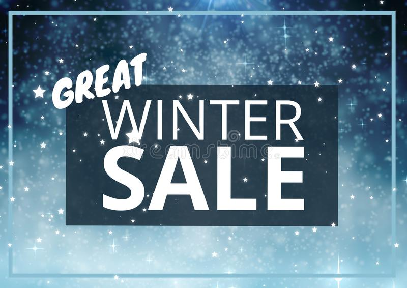 Winter Sale Text on blue rectangle and snowflakes in background. Digital composite of Winter Sale Text on blue rectangle and snowflakes in background stock illustration