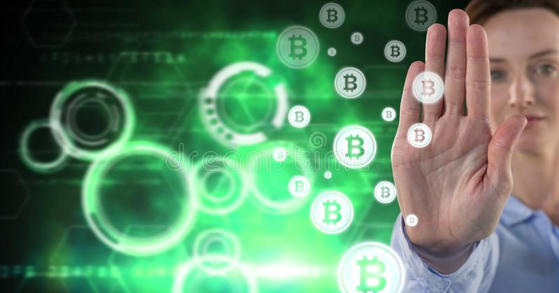 Woman with bitcoin technology information interface royalty free stock photography