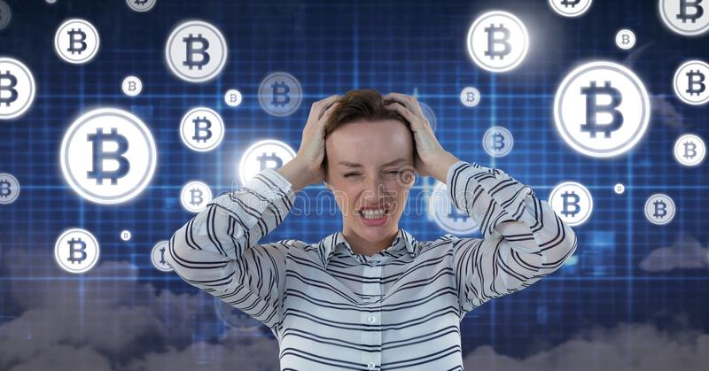 Woman with bitcoin technology information interface royalty free stock image