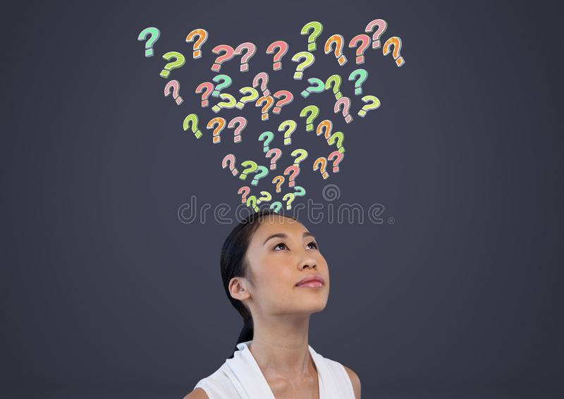 Woman with colorful funky question marks emerging from head stock illustration