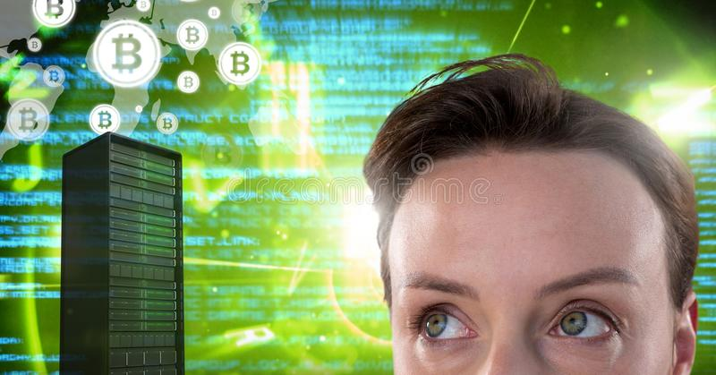 Woman with computer server and bitcoin technology information interface. Digital composite of Woman with computer server and bitcoin technology information royalty free illustration