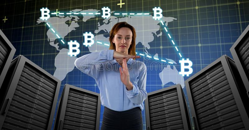 Woman with computer servers and bitcoin technology information interface stock photography