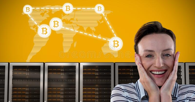 Woman with computer servers and bitcoin technology information interface royalty free stock photo