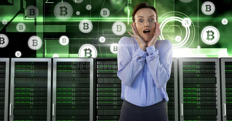 Woman with computer servers and bitcoin technology information interface royalty free stock images