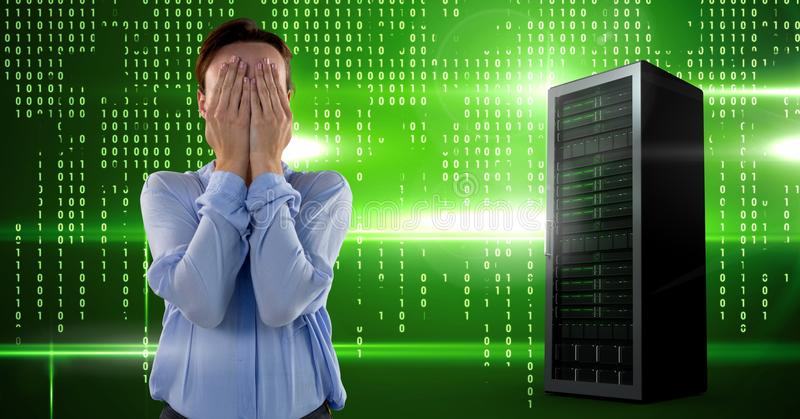 Woman with computer servers and technology information interface royalty free stock photo