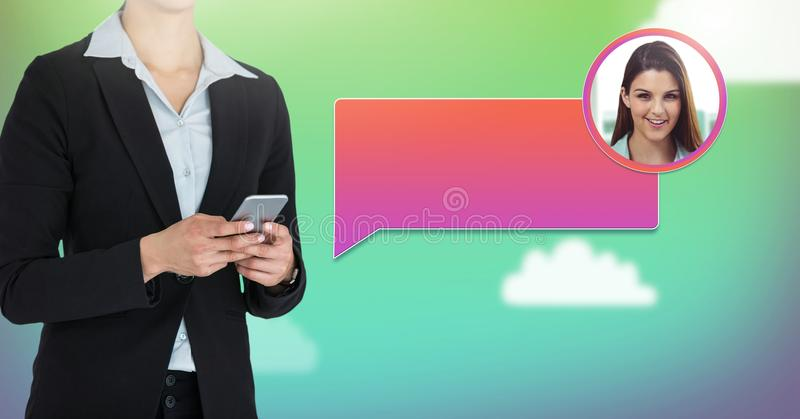Woman using phone with chat bubble messaging profile royalty free stock images